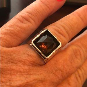 Silpada Sterling Silver Smoky Quartz Ring Size 7